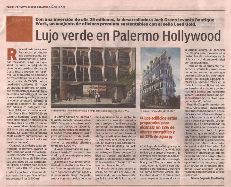 26-03-15- El Cronista- Lujo verde en Palermo Hollywood