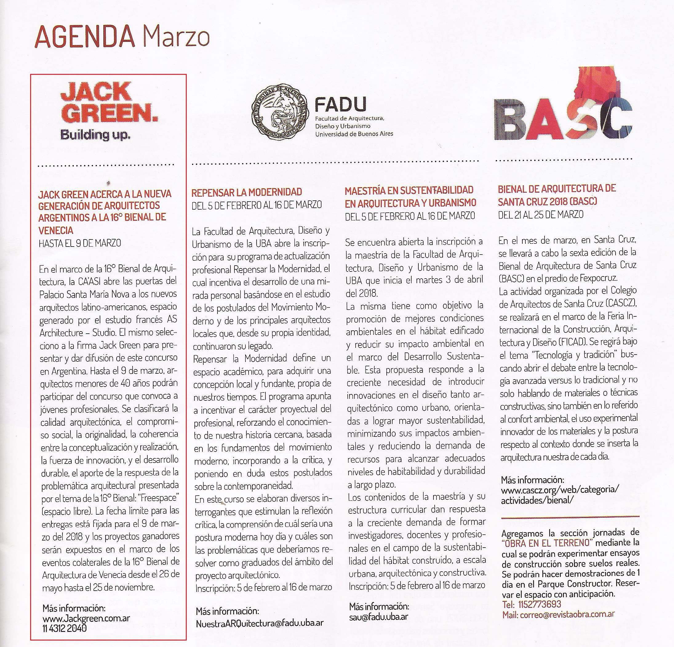 13-03-2018- Revista Obra - Agenda marzo