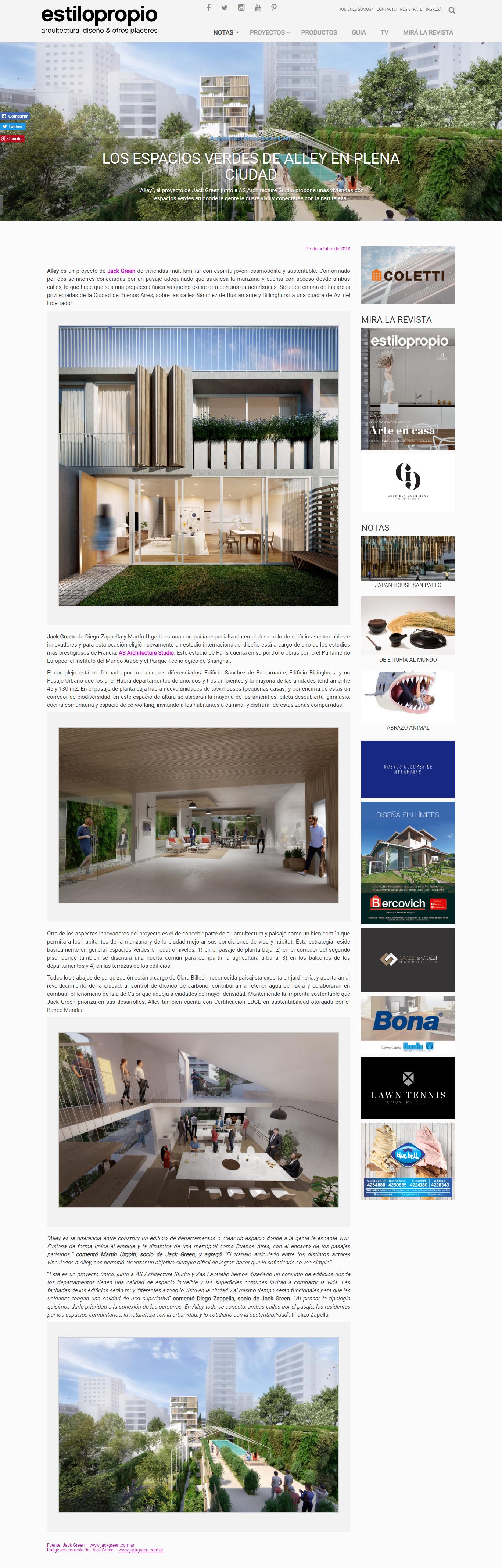 17-10-2018- Revista Estilo Propio - Los espacios verdes de Alley en plena ciudad