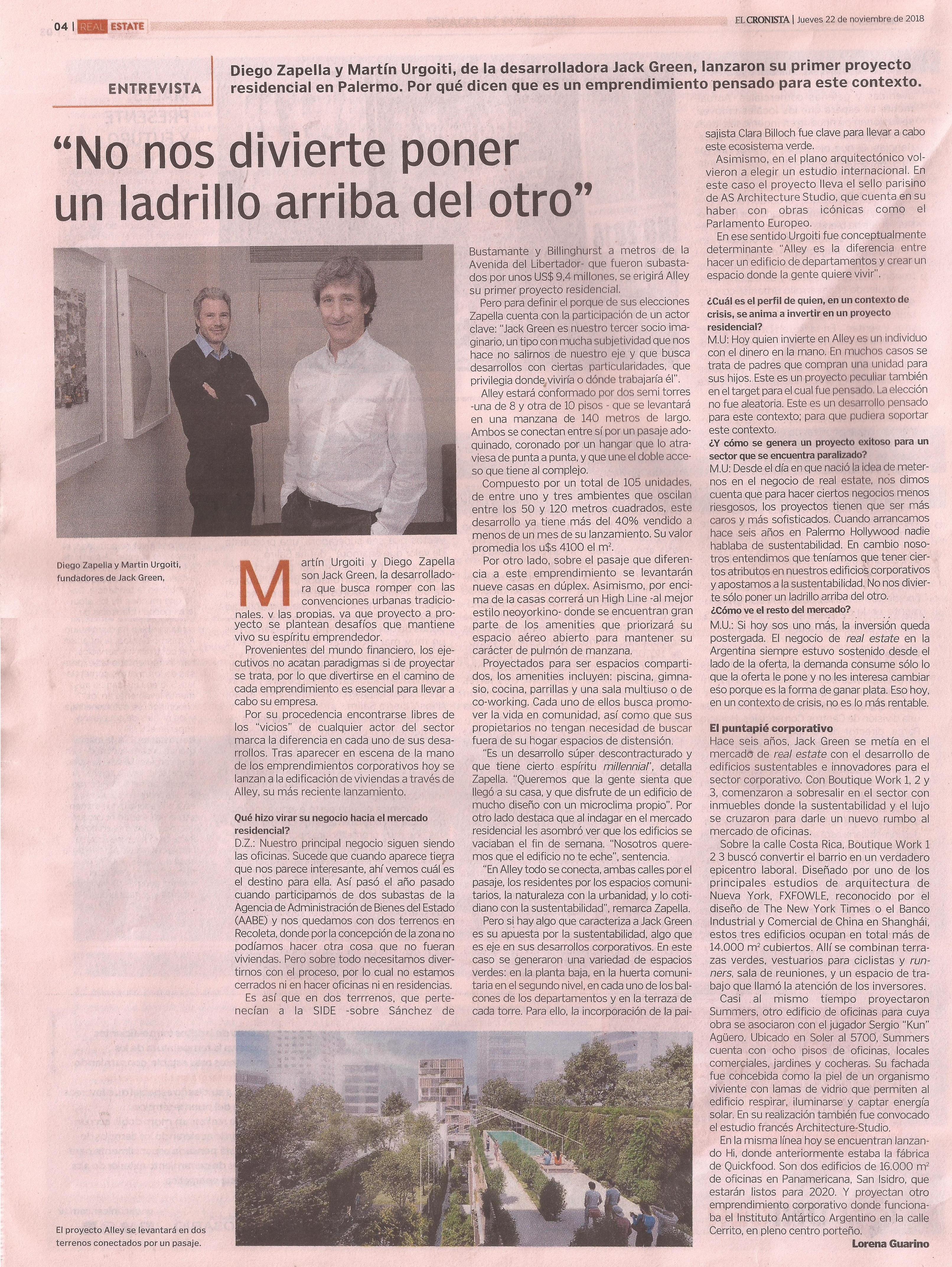 22-11-2018- Diario El Cronista, Suplemento Real Estate - No nos divierte poner un ladrillo arriba del otro
