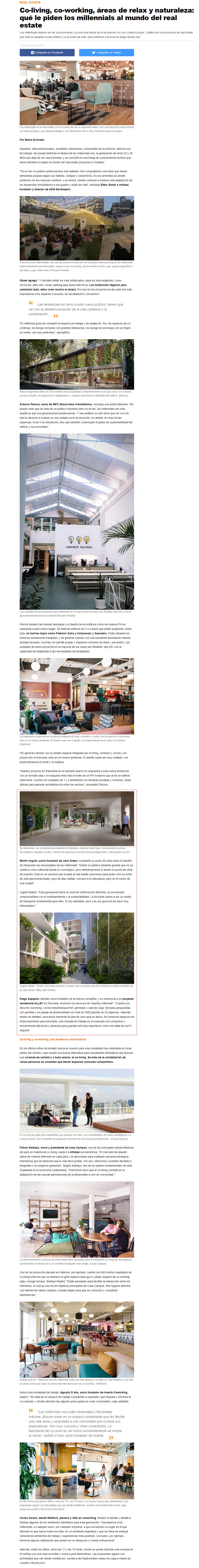 04-03-2019- Infobae- Co-living, co-working, áreas de relax y naturaleza qué le piden los millennials al mundo del real estate